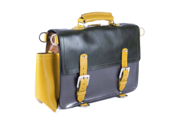 The Caledonian in Dark Green/Grey with Mango Accents
