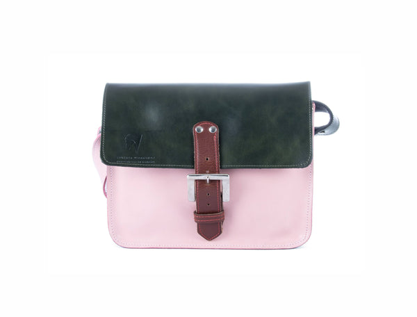 The Chalk Farm in Dark Green/Baby Pink with Brown Accents