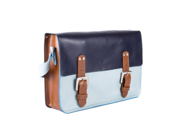 The Arlington in Navy/Baby Blue with Brown Accents