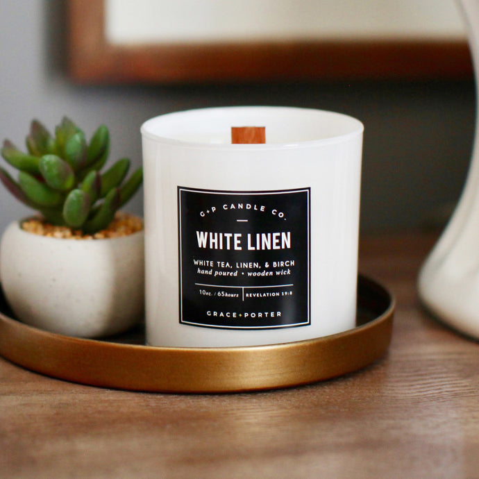 White Linen Candle - Grace + Porter