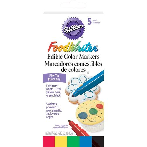 5 Marqueurs alimentaires couleurs primaires / Foodwritter fine tip edible markers