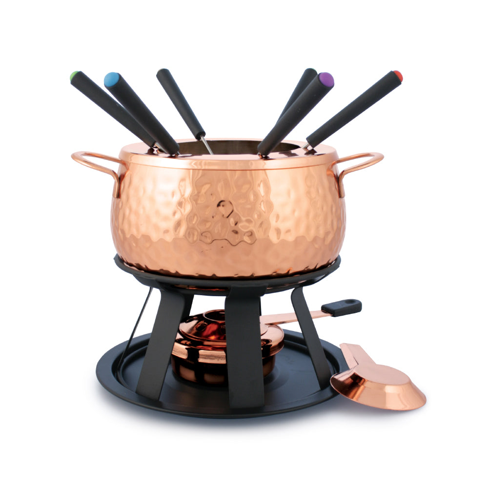 Service à Fondue Biel 11-PC  / Biel 11-PC Copper Fondue Set