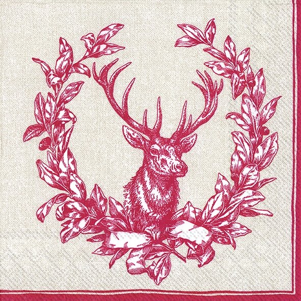 Serviette de table ''Country deer red''