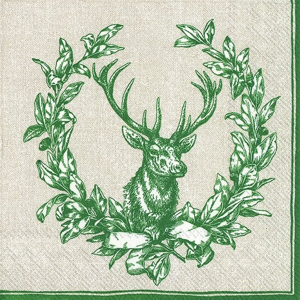 Serviette de table ''Country deer green''