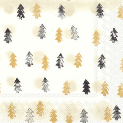 Serviette de table ''Winter trees gold''