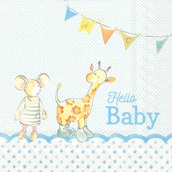 Serviette de table ''Hello Baby bleu''