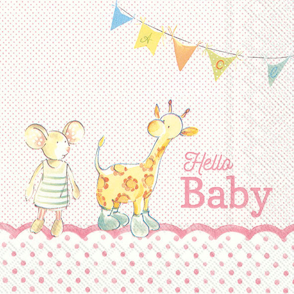 Serviette de table ''Hello Baby rose''