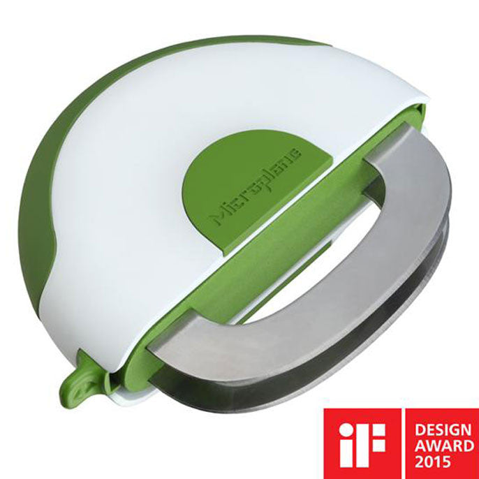 Mezzaluna -Coupe fines herbes avec protection / Microplane Mezzaluna Herb & Salad Chopper with 2 Retracting Blades