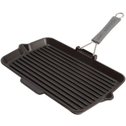 "Gril rectangulaire avec manche silicone 34x21cm / STAUB Rectangular Grill with Detachable Handle 13""x8"" - DISCONTINUÉ"