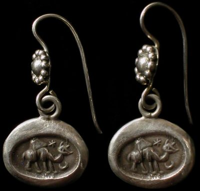 Solid silver earrings with Ibex from Ancient Persia