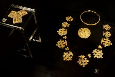 Gold jewelry was reserved for the elite.
