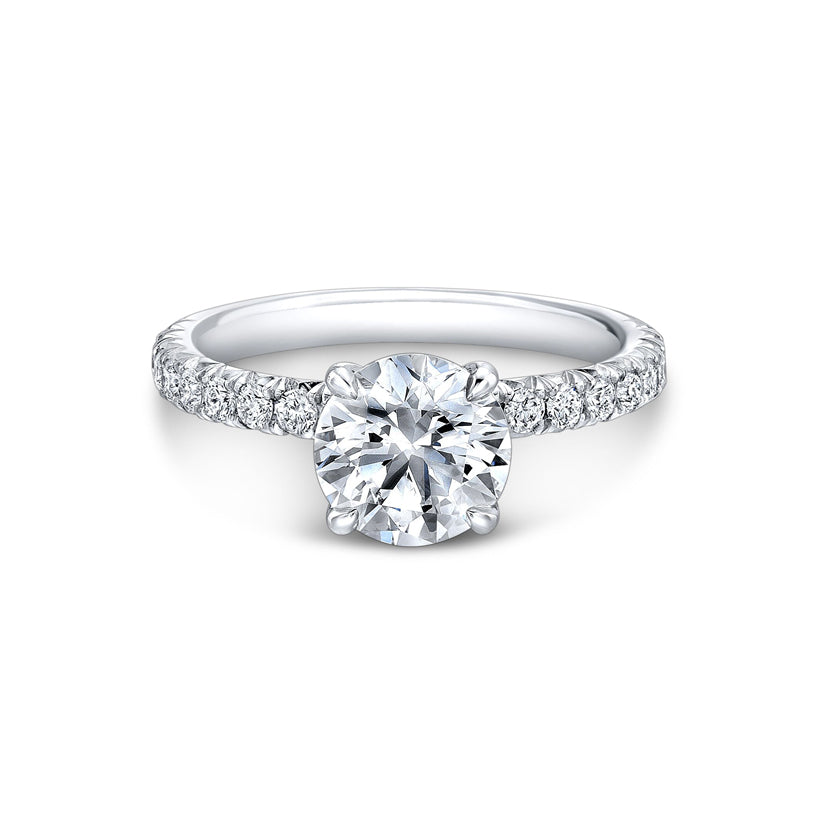 Four Pointed French Pave Engagement Ring