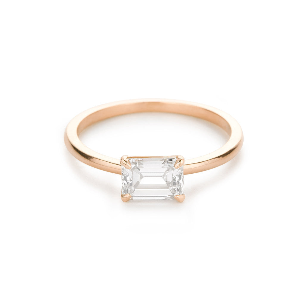 Diamond Foundry Emerald Engagement Ring 18K Rose Gold