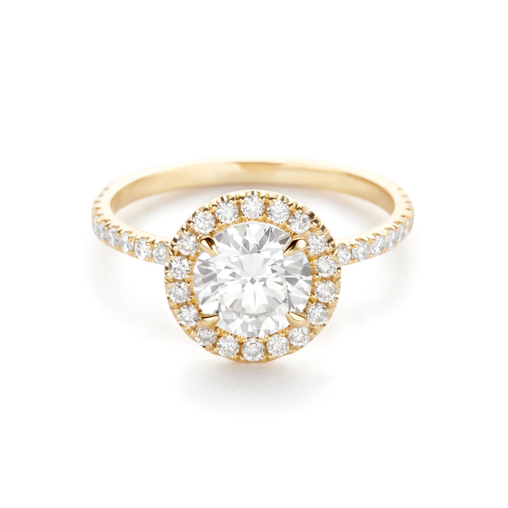Diamond Foundry Halo Pave Engagement Ring 18K Yellow Gold