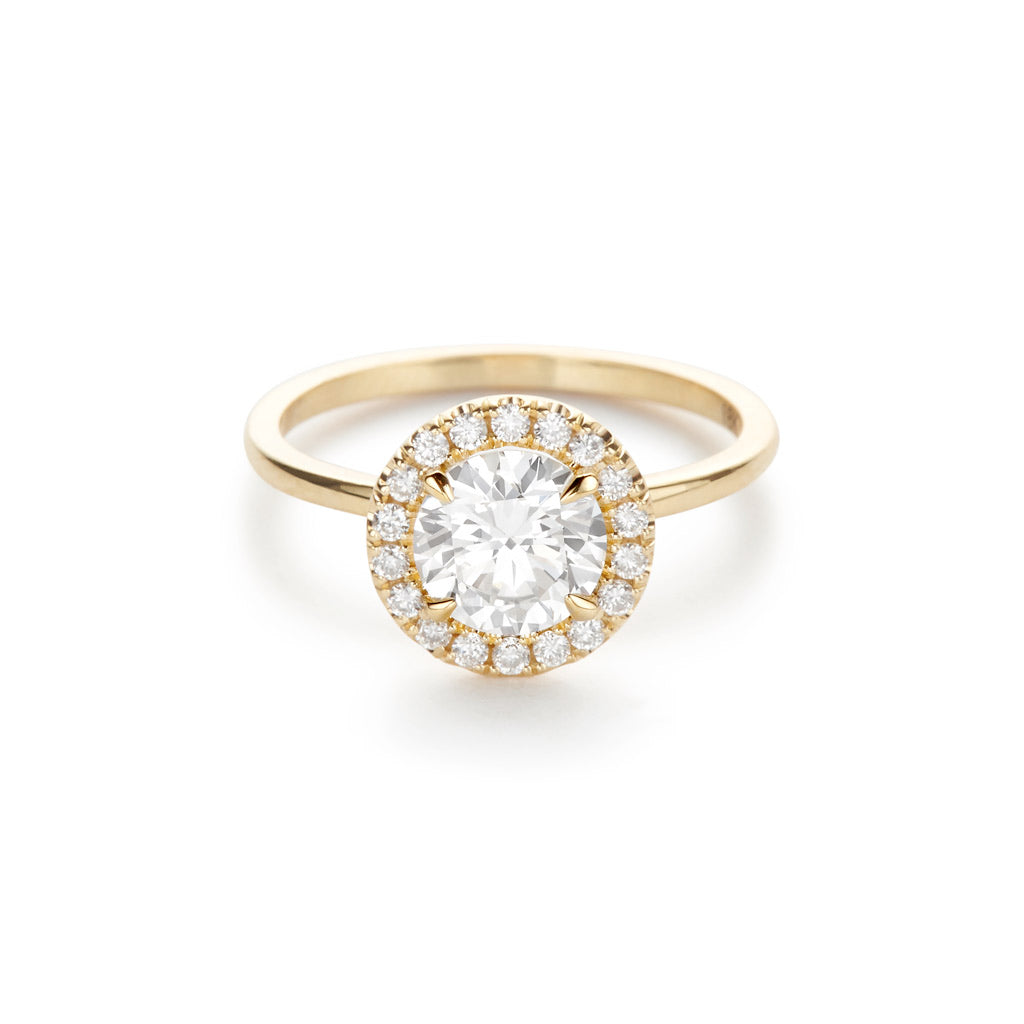Diamond Foundry Halo Engagement Ring 18K Yellow Gold