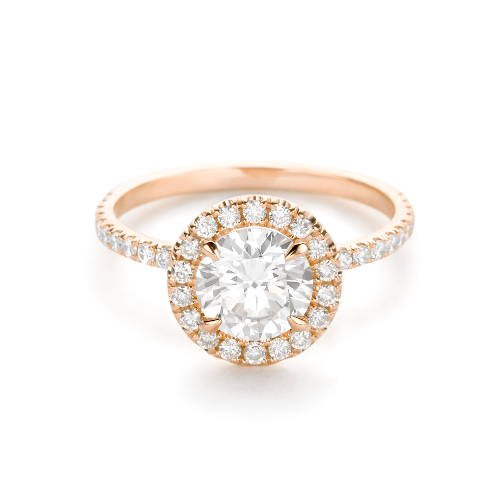 Diamond Foundry Halo Pave Engagement Ring 18K Rose Gold