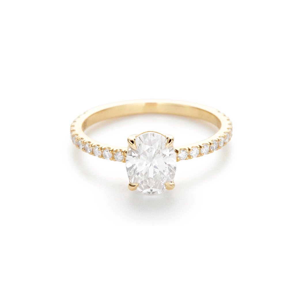 Diamond Foundry Oval Pave Engagement Ring 18K Yellow Gold