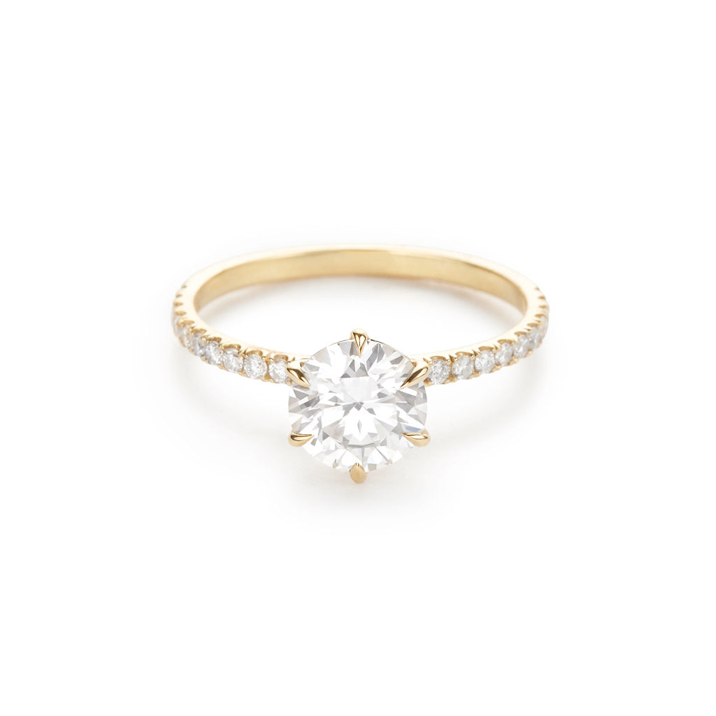 The Solitaire Pave 18K Yellow Gold