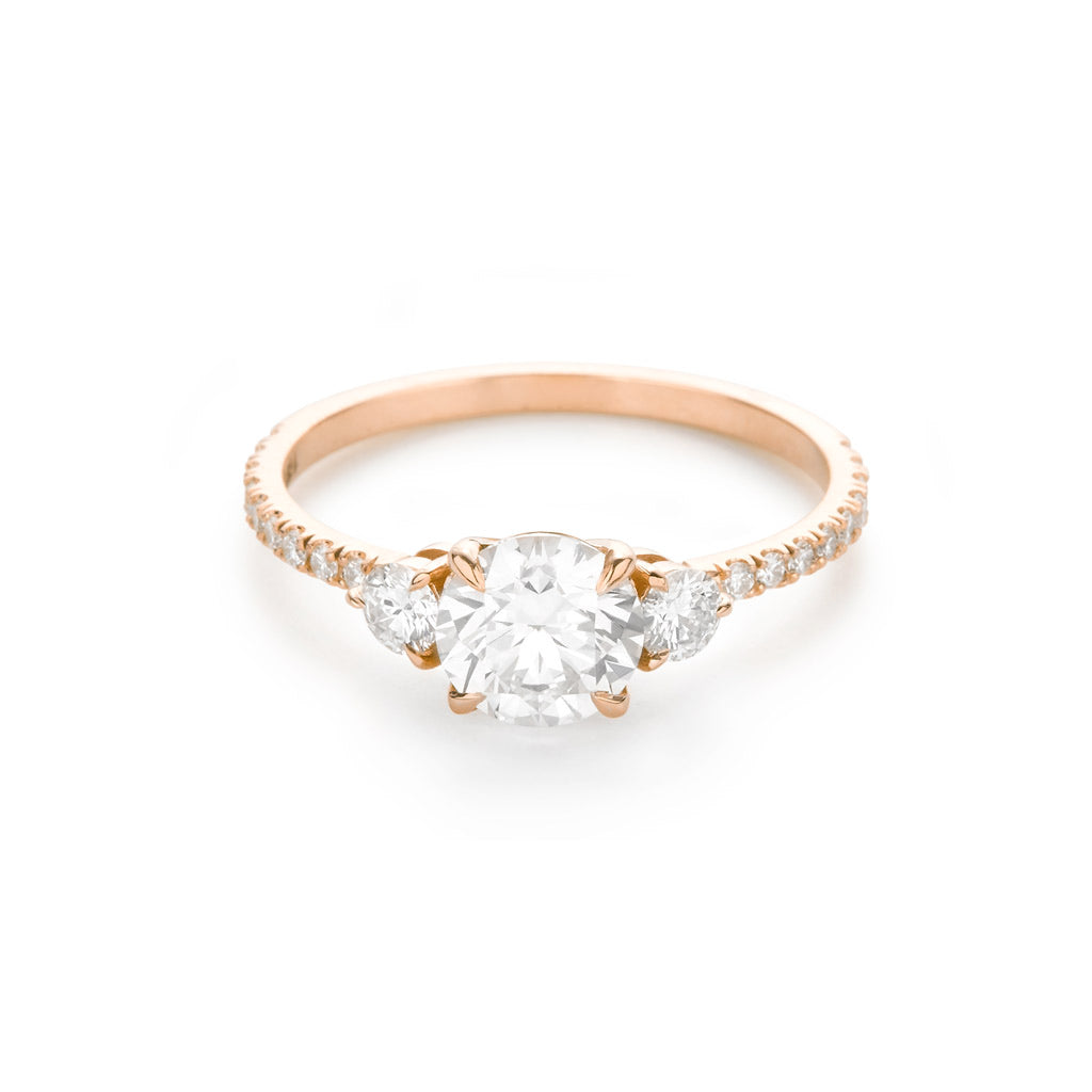 Three Stone Pave 18K Rose Gold