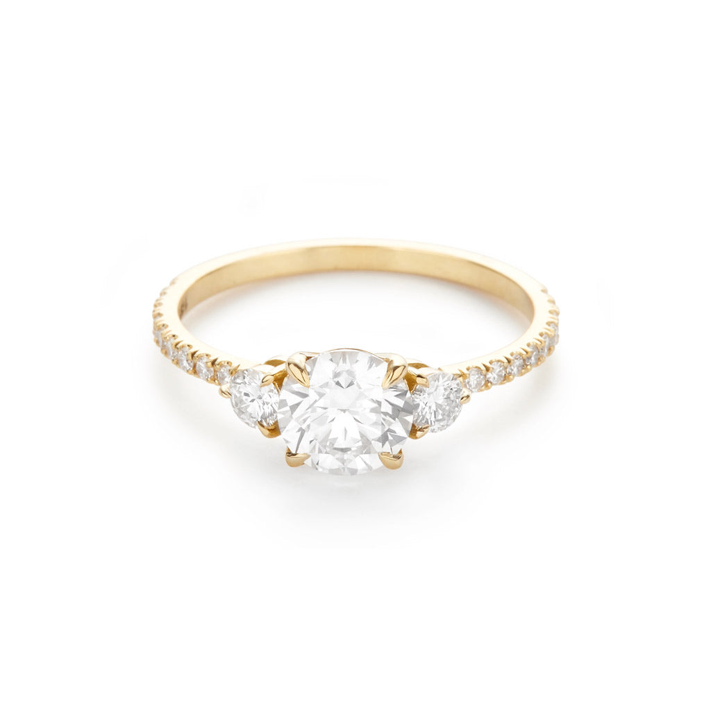 Three Stone Pave 18K Yellow Gold