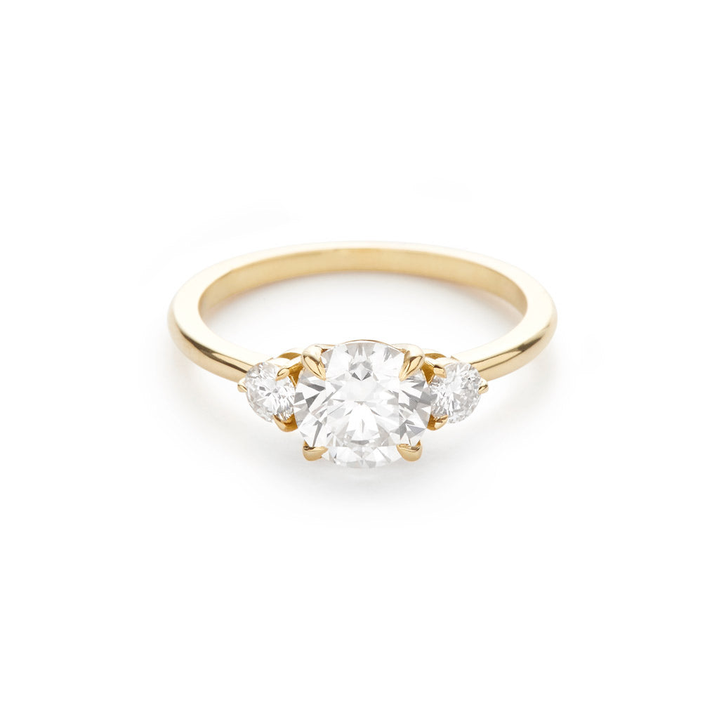 The Three Stone Engagement Ring 18K Yellow Gold – Diamond Foundry