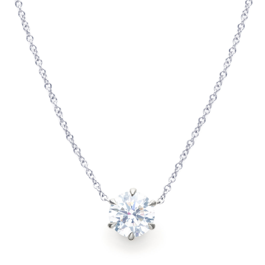 Vrai & Oro Round-Brilliant Diamond Necklace 18k White Gold