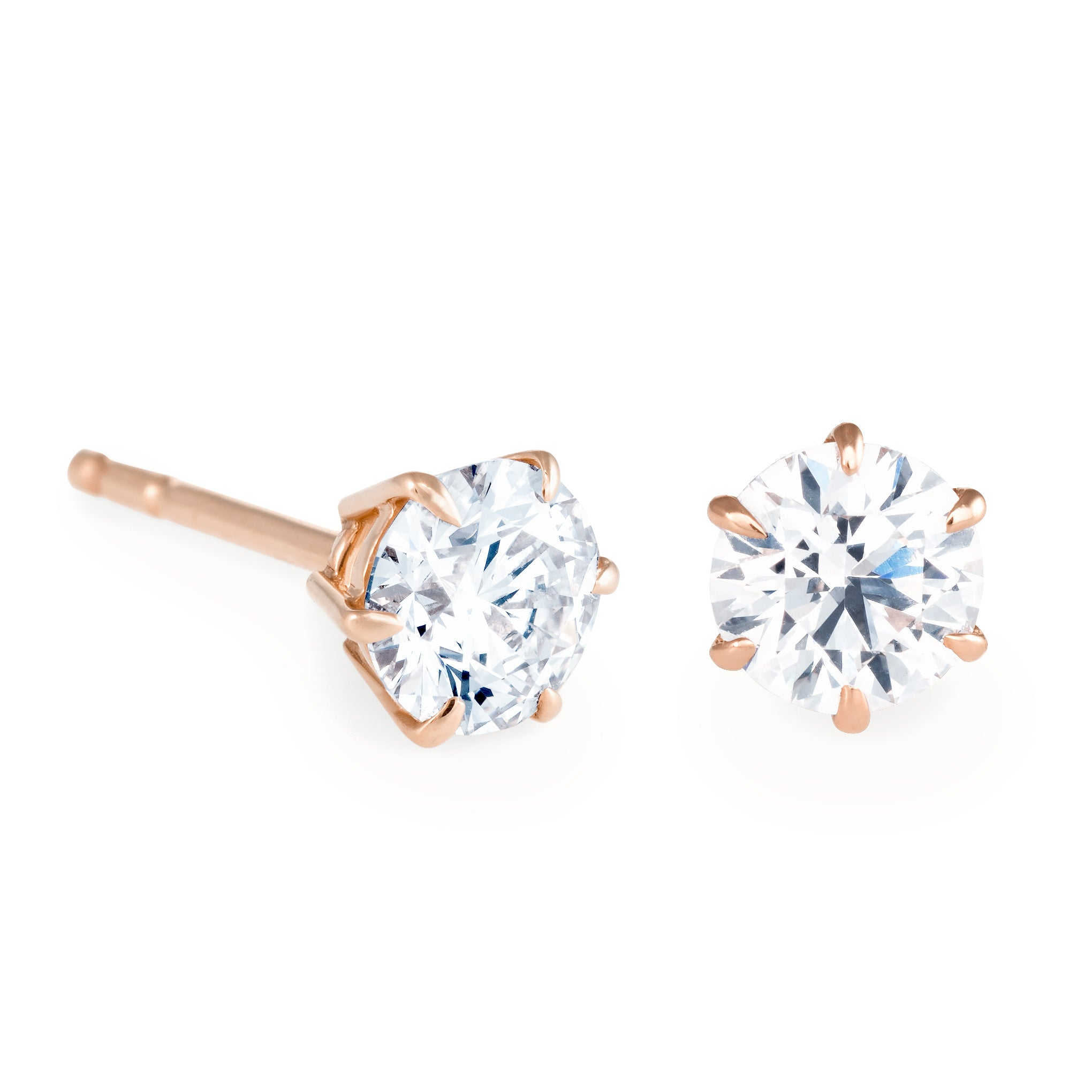 views more stud diamond total gold solitaire earrings ct white