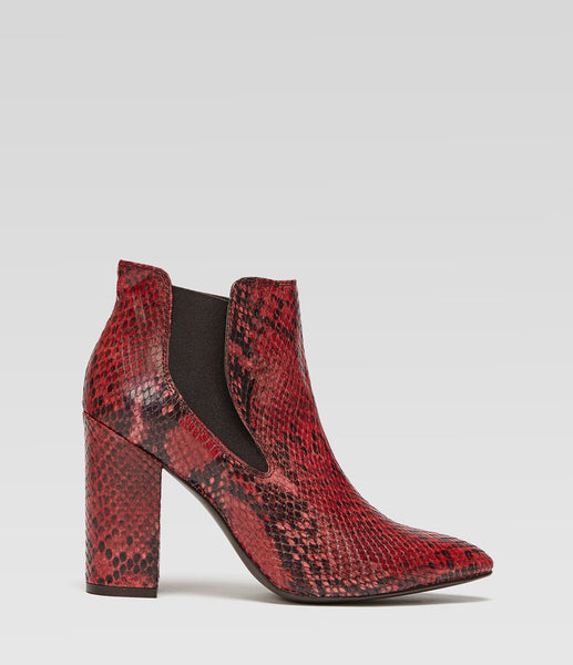 Pointed Block Heel Ankle Boots Adriana Red