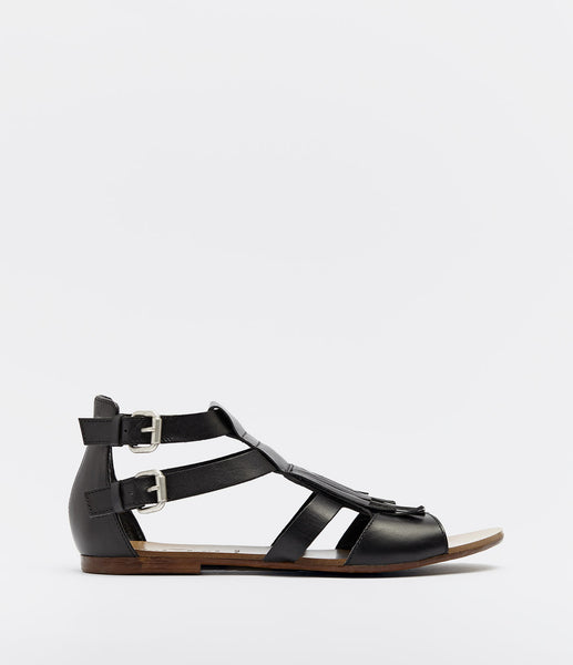 Sandals With Fringes Annica Black