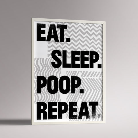 A3 framed Eat Sleep slogan print for nursery decor