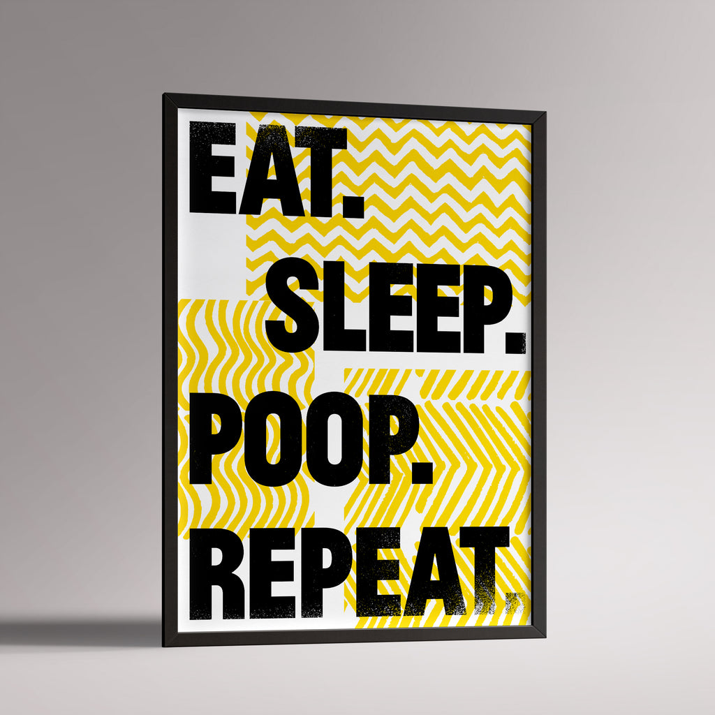 Eat Sleep Yellow Poster | A3 Black Frame - Milk and Poop