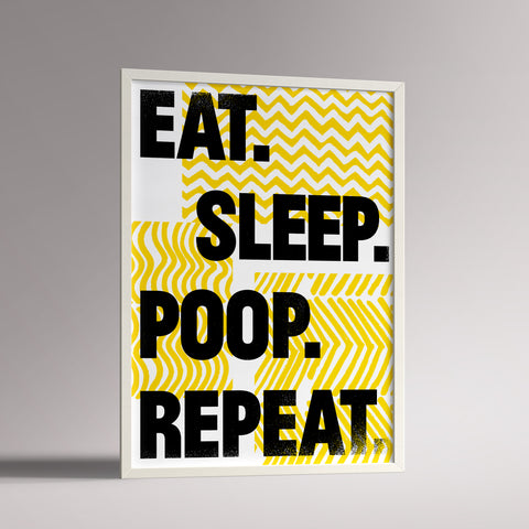 A3 framed Eat Sleep slogan print for nursery decor in yellow