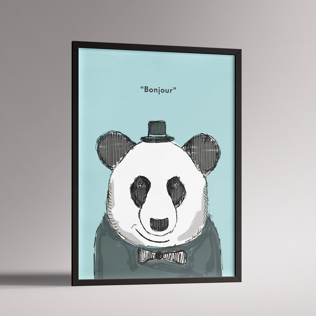 Dapper Panda Poster | A3 Black Frame - Milk and Poop