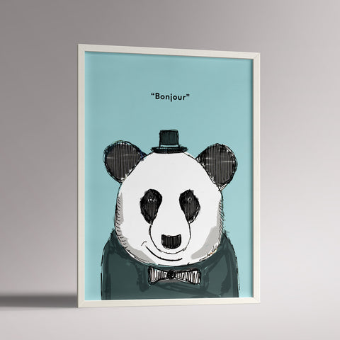 A3 framed panda poster in mint and grey