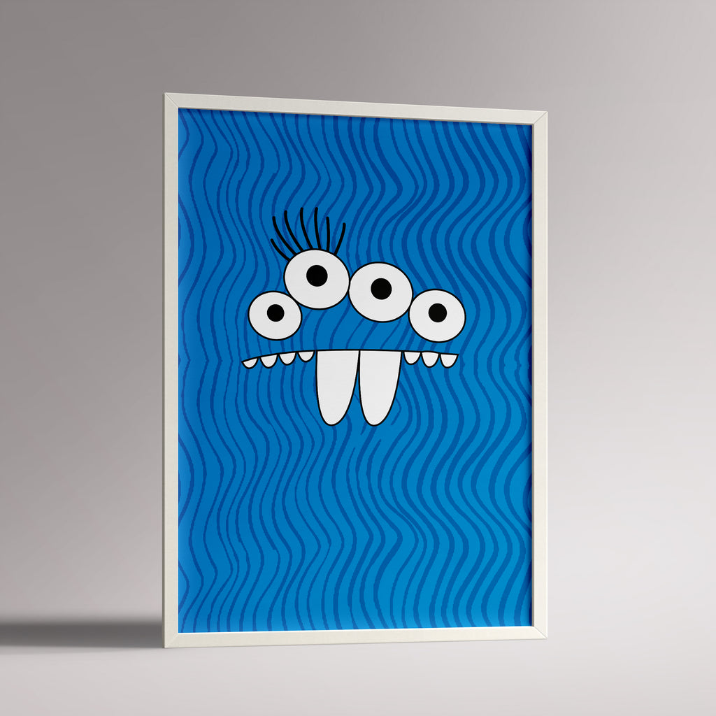 Framed A3 kids poster with blue monster face