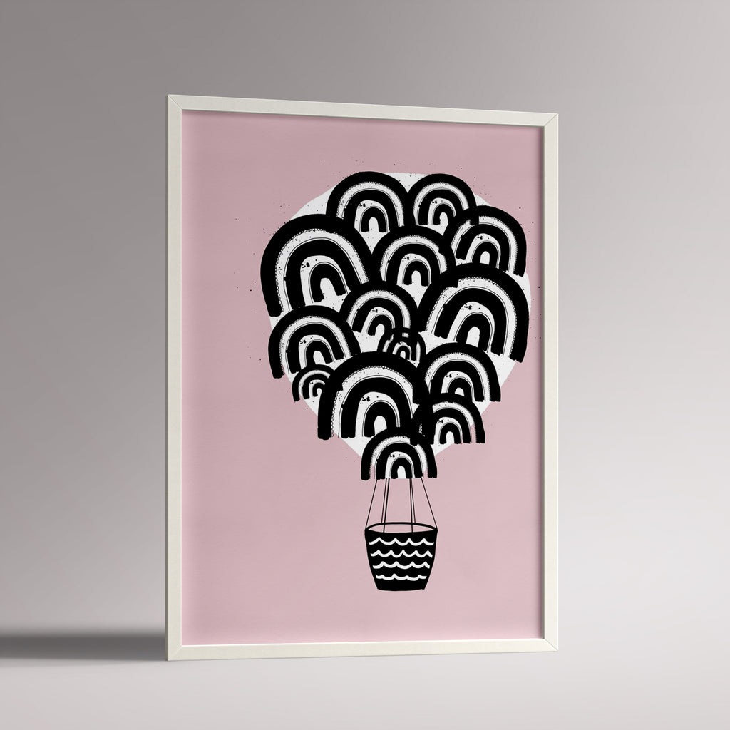 Dusky pink hot air balloon nursery poster