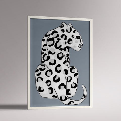 Wonder and RAH A3 blue leopard nursery print