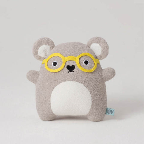 Grey cuddly toy bear with yellow glasses from Noodoll