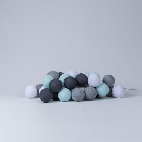 Mint and grey cotton ball lights
