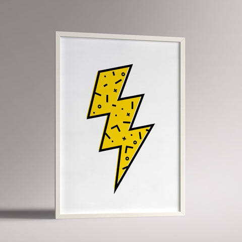 Lightning Bolt Poster | A3 White Frame - Milk and Poop