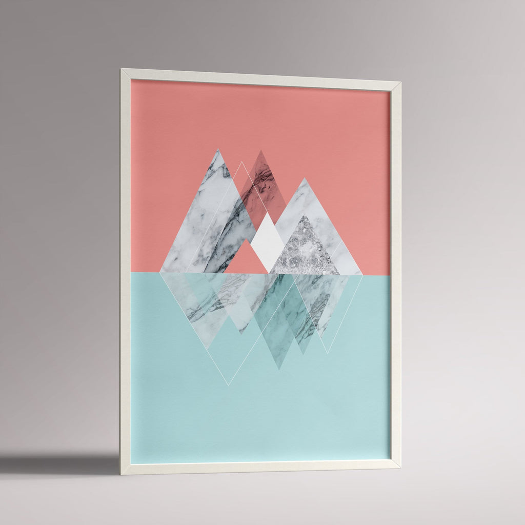 Marble Mountains Poster | A3 White Frame - Milk and Poop
