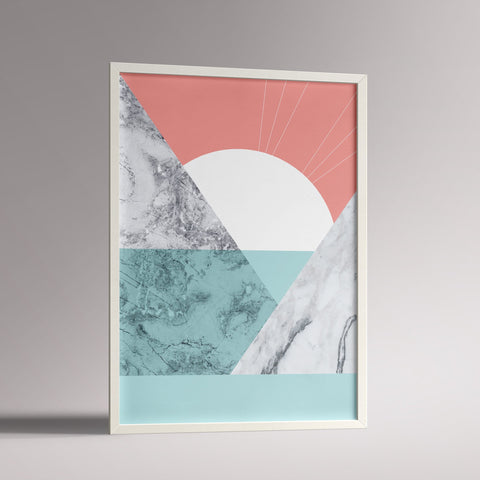 Marble Sunrise Poster | A3 White Frame - Milk and Poop