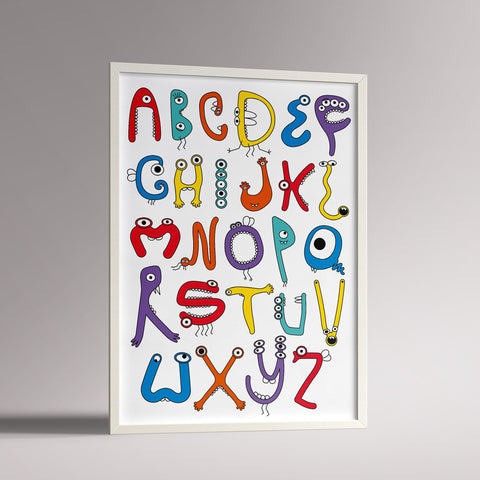 Monster Alphabet Poster | A3 White Frame - Milk and Poop
