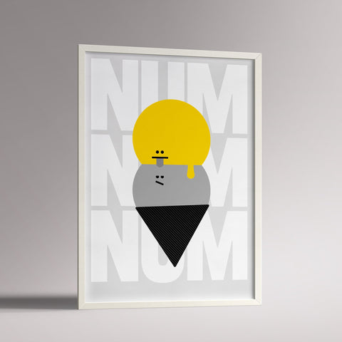 Num Num Yellow/Grey Poster | A3 White Frame - Milk and Poop