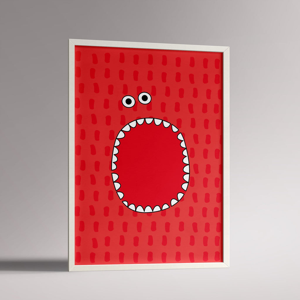 Red Monster Poster | A3 White Frame - Milk and Poop