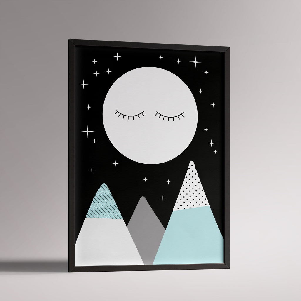 Snoozy Moon Poster | A3 Black Frame - Milk and Poop