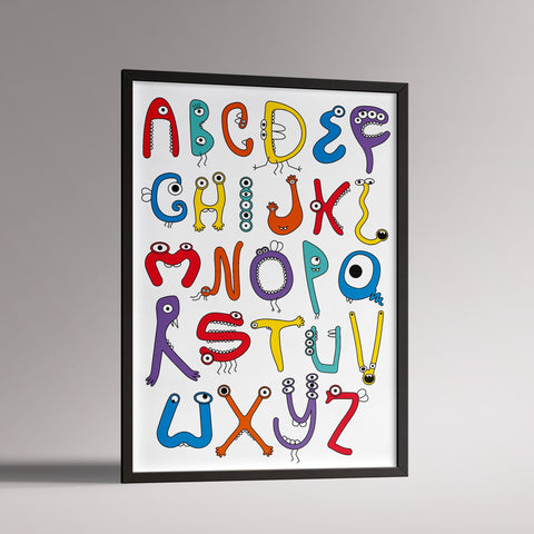 Monster Alphabet Poster | A3 Black Frame - Milk and Poop