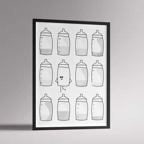 Mrs Milk Poster | A3 Black Frame - Milk and Poop