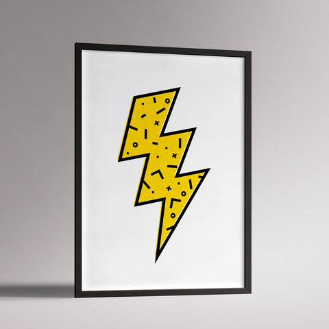 Lightning Bolt Poster | A3 Black Frame - Milk and Poop