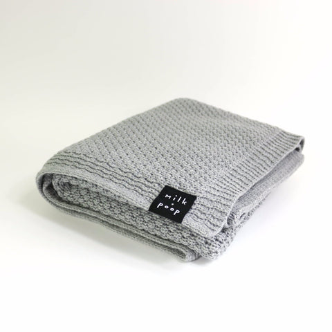 Knitted Merino Blanket | Grey - Milk and Poop